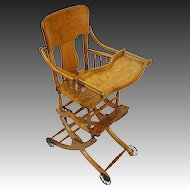 Antique Oak Convertible High Chair, Stroller, Rocker with Caned Seat and Tray Table