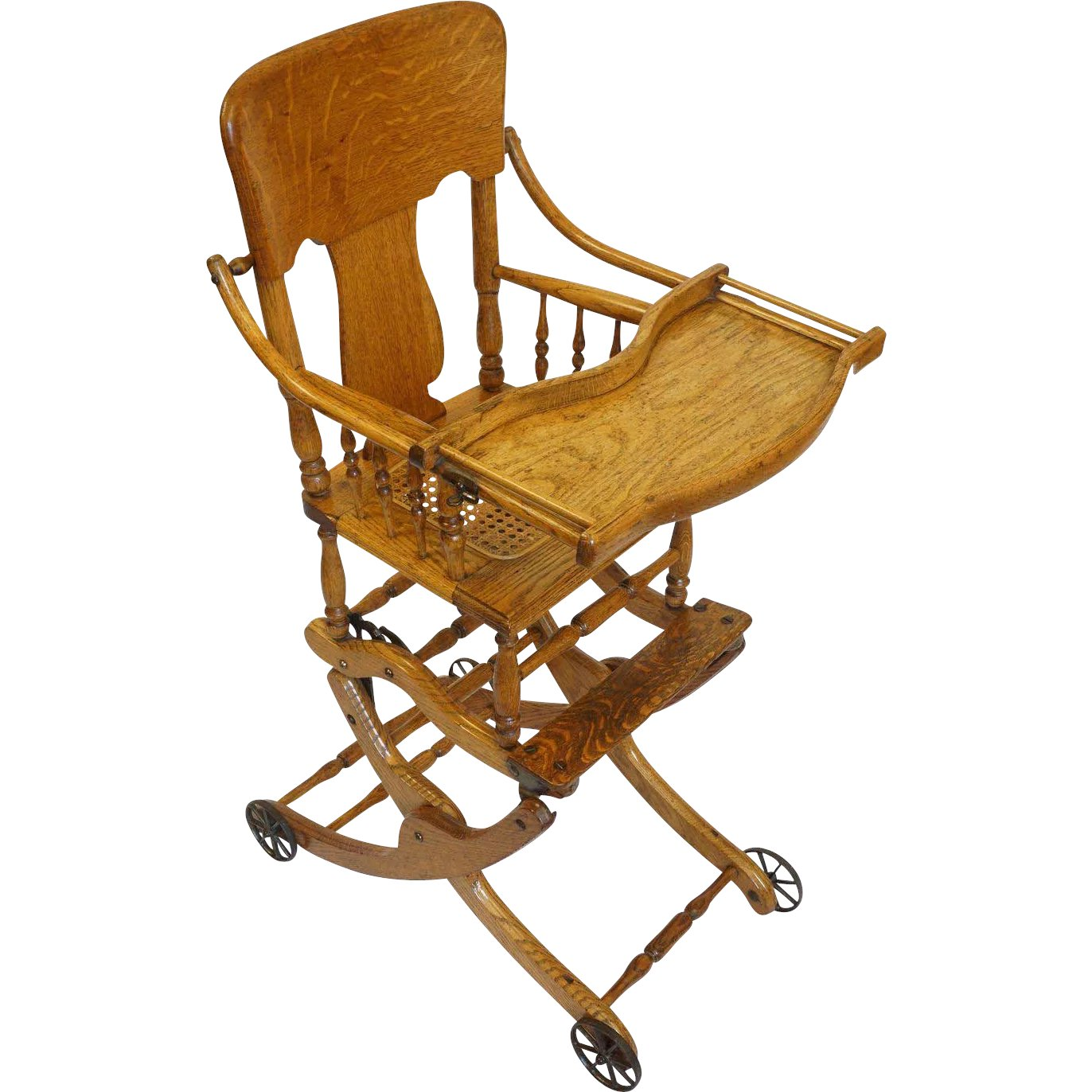 Antique Oak Convertible High Chair, Stroller, Rocker with Caned Seat :  Amulet Art and Antiques   Ruby Lane - Antique Oak Convertible High Chair, Stroller, Rocker With Caned Seat