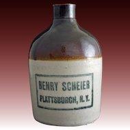 Americana NY Whisky Advertising Glazed Stoneware Jug / Crock Henry Scheier, Plattsburgh, NY 1 Pint SIze - pre 1934, USA