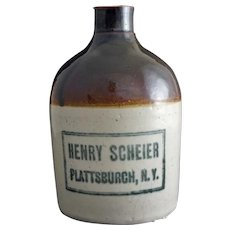 Americana NY Whisky Advertising Glazed Stoneware Jug / Crock Henry Scheier, Plattsburgh, NY 1 Pint SIze - pre 1934, USA