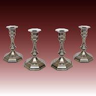 Set Four French Etains du Manoir Pewter Candlesticks - 20th Century, Paris, France