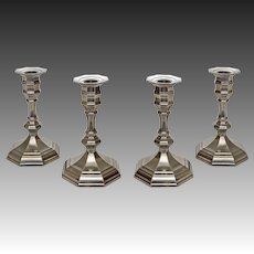 Set Four French Etains du Manoir Pewter Candlesticks - 20th Century, Paris, France
