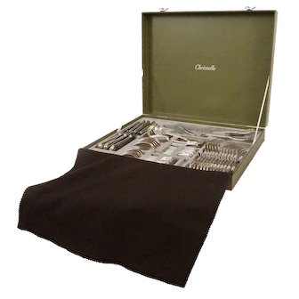 36 Pc Ercuis France Filets Silverplate Flatware Set for Six - 20th Century, France