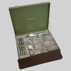 39 Pc Ercuis France Filets Chinon Pattern Silverplate Flatware Set for Six Christofle Storage Chest - 20th Century, France