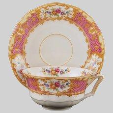English Chinoiserie Alfred Meakin Cup Saucer Set Osiris Chateau - circa 1930+, England