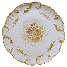 Limoges Porcelain Plate Scalloped Raised Gilt Lavender Floral