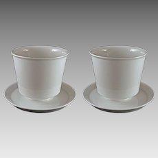 Pair German KPM Modern Porcelain Cache Pot / Planter /Jardiniere White with Under Plates Medium Size - 20th Century, Germany