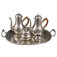 French Pewter / Etain du Manoir Tea / Coffee Set with Matching Tray - 20th Century, France