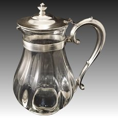 R. Wallace Silver Soldered and Glass Large Pitcher Railroad - 20th Century, Connecticut, USA