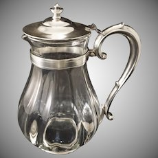 R. Wallace Silver Soldered and Glass Large Pitcher - 20th Century, Connecticut, USA
