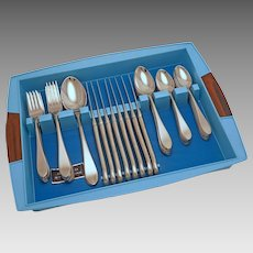 50 Piece Gorham Georgetown Pattern for 8 Modern Flatware Set Stainless Steel Satin Finish Handle - 20th Century, USA