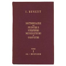 Complete Set Benezit Dictionary of Artists 8 Tomes 1966 Edition Burgundy Covers France