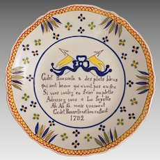French Faience Rouen Wall Plate Country Provence Cadet Rouselle Verse Signed