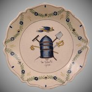 French Revolution Decor Faience Plate La Liberte 1793 / Freedom Bird, Cage, Rake, Spade, Sword, Scepter