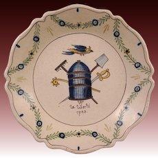 French Revolution Decor Faience Plate La Liberte 1793 / Freedom Bird, Cage, Rake, Spade, Sword, Scepter