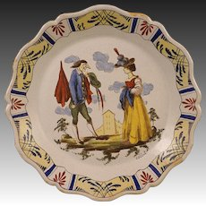 French Faience Signed Callot Plate Satirical Caricature Couple