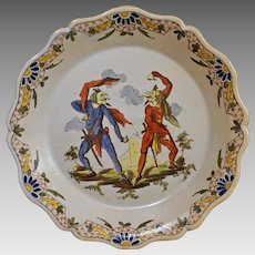 French Satirical Faience Plate Grotesque Callot Style Commedia dell'Arte Masked Comedians