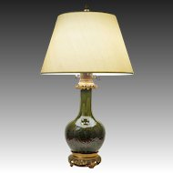 Gagneau Paris Chinoiserie Faience Ormolu Mount Table Lamp Green Glaze - late 19th Century, France
