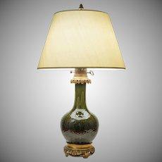 Gagneau Paris Chinoiserie Faience Ormolu Mount Table Lamp Green Glaze - late 19th Century, France