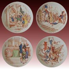 Set 4 Sarreguemines Faience Plates Historic French Revolution Series - circa 1880, France