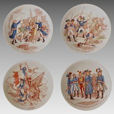 Set 4 Sarreguemines Faience Plates Historic French Revolution Series - circa 1880, France