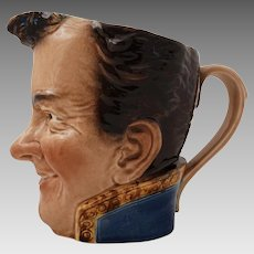 Sarreguemines Majolica Barbotine Face Pitcher 3320 The Admiral / L'Amiral - circa 1990-1910, France