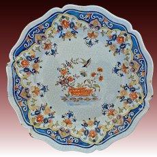 "Large 11.75"" French Faience Rouen Platter Tin Glazed - France"
