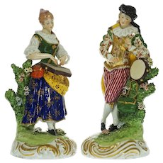Pair Derby Large Couple Musicians Figurines Bocage Bocage Signed - 19th Century, England