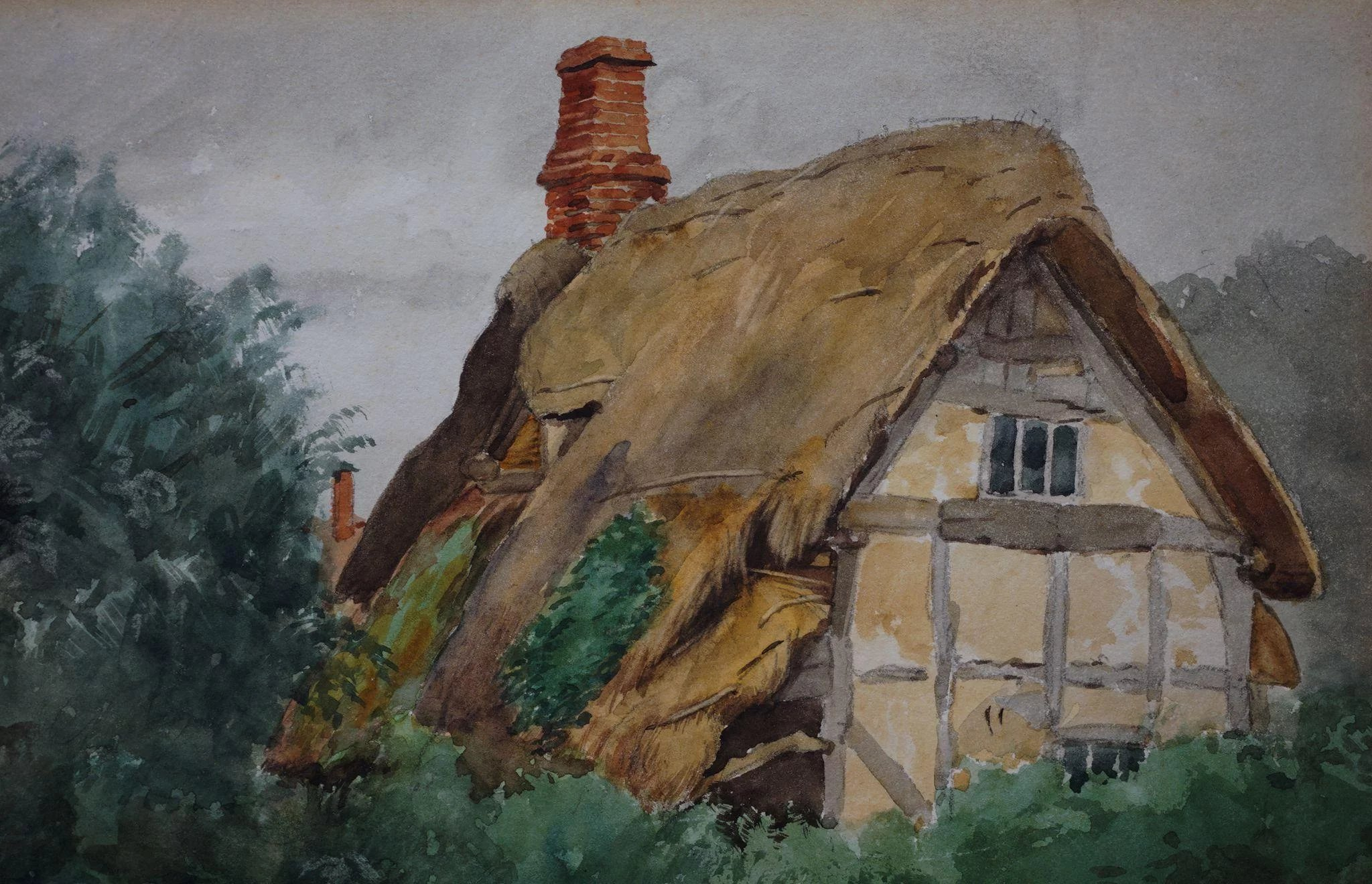 Sidney Currie Watercolor Thatched Roof Cottage English