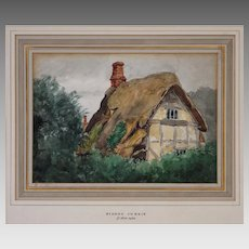 Sidney Currie Watercolor Thatched Roof Cottage English Midlands Painting - c. 1920's, England