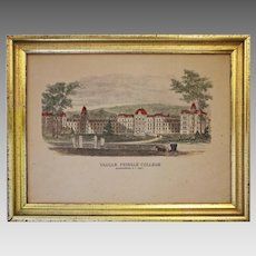 Vassar Female College Engraving Print Architectural Americana Vintage Borghesse Framed