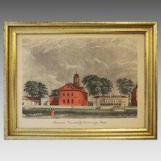 Harvard University Engraving Print Architectural Americana Vintage Borghesse Framed