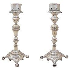 Pair of Solid Silver Ball and Claw Feet Candlesticks 833/1000 - circa 1870, Rio de Janeiro, Brazil