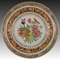Chinese Butterflies, Fruits and Blossoms Porcelain Enamel Plate - 19th Century, China