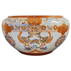 Japanese Meiji Kutani Iron Red and Gilt Hand Painted Ceramic Bowl Large - Meiji Period, Japan