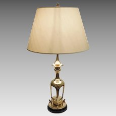 Pagoda Warren Kessler Bronze Table Lamp Modern Faux Bamboo - circa 1970, New York USA
