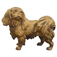 Austrian Pekingese Dog Cold Painted Gilt Bronze Figurine