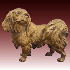 Austrian Pekingese Dog Cold Painted Gilt Bronze Figurine