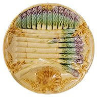 French Majolica Onnaing Asparagus Plate - France