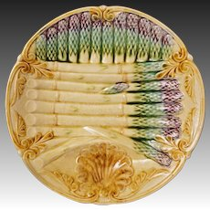 French Majolica Onnaing Asparagus Plate - France