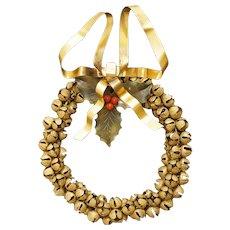 Petit Choses Dresden Brass Sleigh Jingle Bells Christmas Holiday Wreath Door Ornament