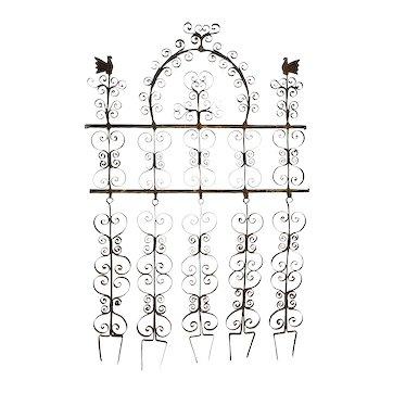 Antique Pennsylvania Wrought Iron Double Bird Wall Rack for Kitchen Utensils Americana Primitive Folk Art