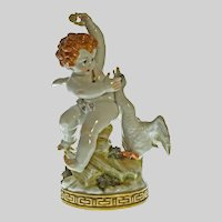 Algora Cupid and Swan Porcelain Figurine Large - 20th Century, Spain
