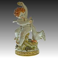 Algora Cupid and Swan Porcelain Figurine Large - 20th Century, Spain