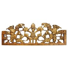Chinese Gilt Wood Carving Smiling Men Figures Panel Clouds Peace