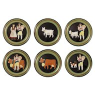 Swiss Burkart Set 6 Artistic Ceramic Pottery Plates Farm Traditional Costume Animals - circa 1970's, Switzerland