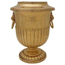 Brass Champagne Wine Cooler Ice Bucket Barware Lions Ring Handles - 20th Century