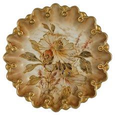 Antique Early Doulton Burslem Spanish Ware Cabinet Plate British Registry Number 71806 - 1887, England