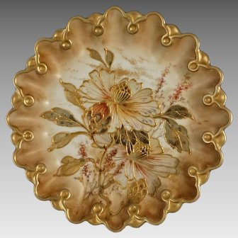 Antique Early Doulton Burslem Spanish Ware Cabinet Plate British Registry Number 71806 - 1887, England