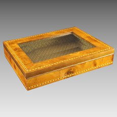 French Burl Wood Inlay Bevel Glass Lidded Box Dorvilliers Paris - 20th Century, France